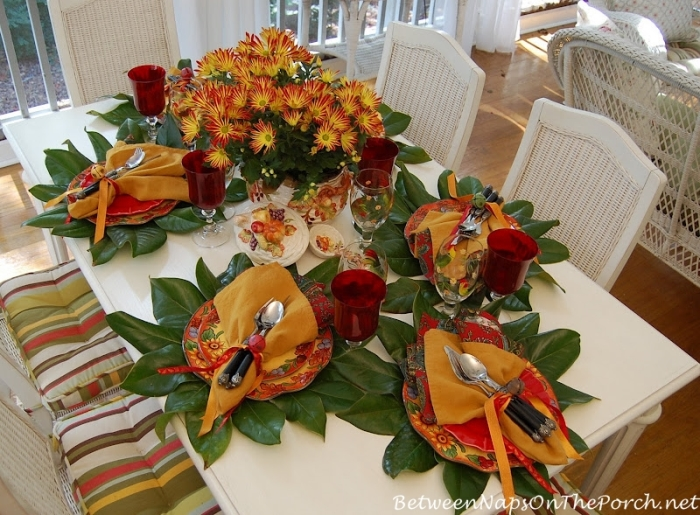 Tablescape with Magnolia Leaf Chargers