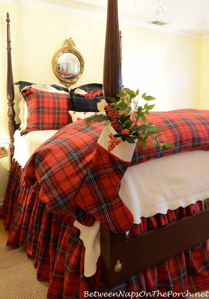 Tartan Christmas Stocking On Bed Post