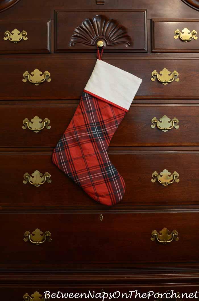 Tartan Christmas Stocking on Highboy