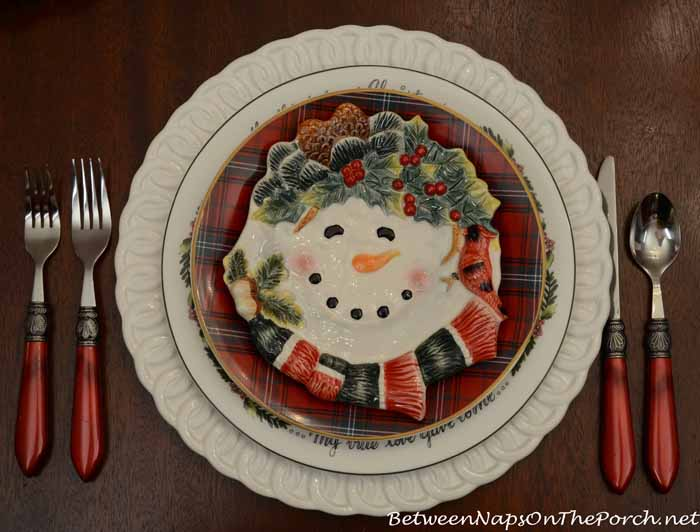 Tartan Pottery Barn Plates and Snowman Plates
