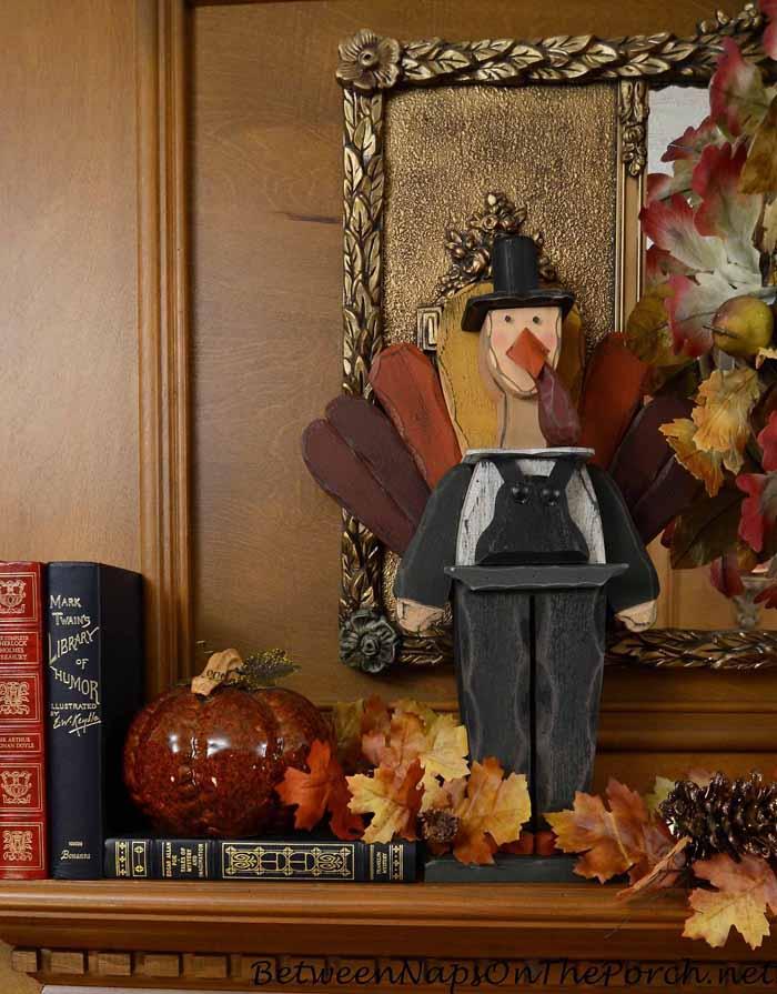 Thanksgiving Fall Mantel with Turkey