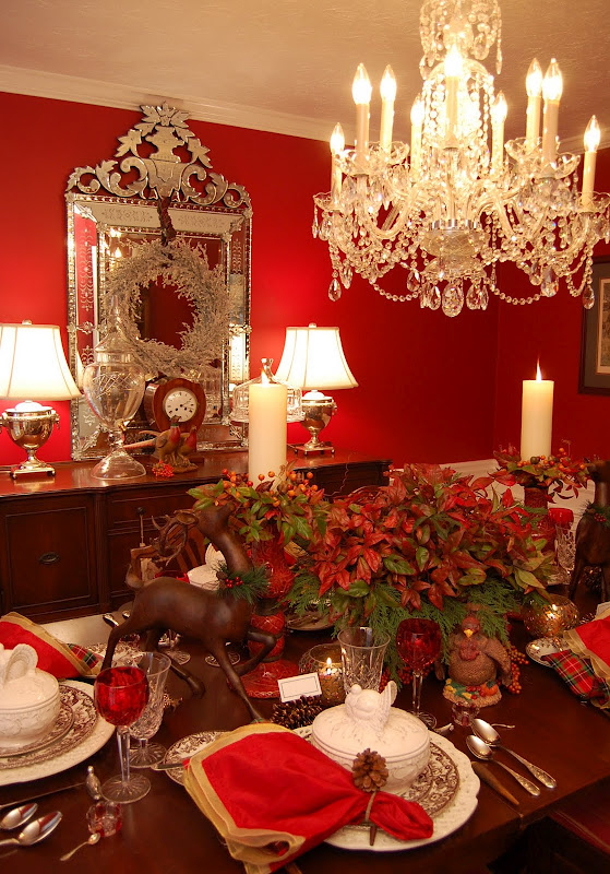 Thanksgiving Table Setting with Turkey Tureens