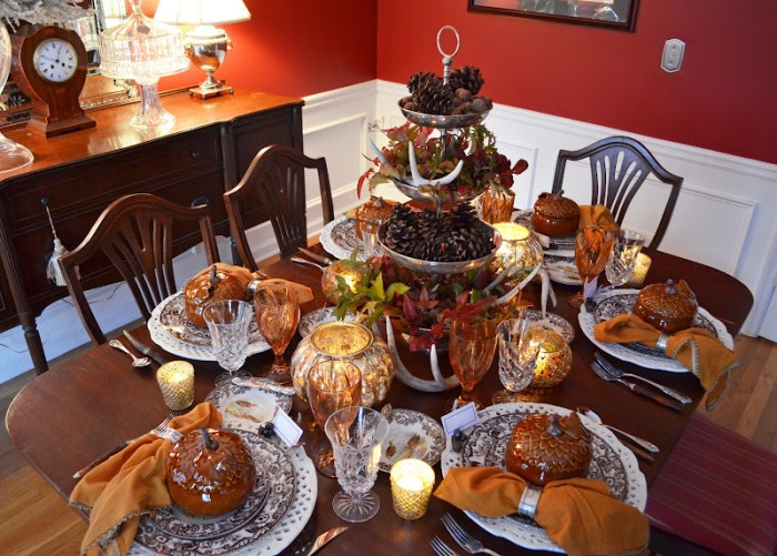 Thanksgiving Tablescape with Natural Centerpiece of Greenery, Antlers and Pinecones