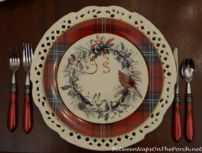 Williams-Sonoma Tartan Dishware and Lenox Winter Greetings Salad Plate
