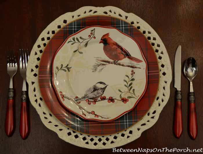 Williams-Sonoma Tartan Plates and Better Homes and Gardens Christmas Bird Plates