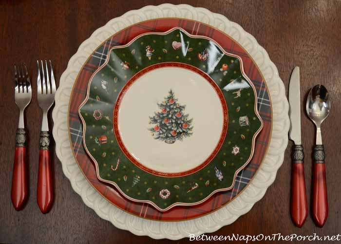 Williams-Sonoma Tartan Plates and Villeroy & Boch Toy's Delight Plates