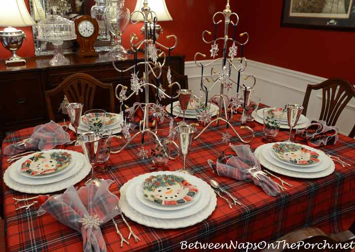 Winter Holiday Tablescape With Cher Blanc China