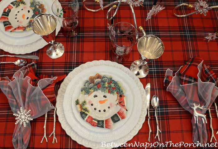 Winter Holiday Tablescape With Plaid Tartan Tablecloth