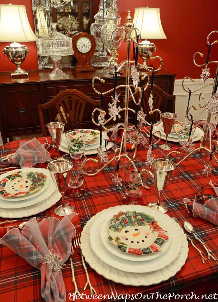Winter Tablescape With Noritake Cher Blanc and Snowman Plates