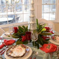 Christmas Tablescape With A Fresh Magnolia and Nandina Berry Centerpiece