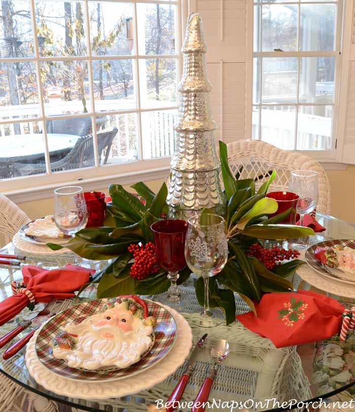Christmas Tablescape With Magnolia and Nandina Centerpiece : Christmas Table Setting Tablescape from betweennapsontheporch.net size 700 x 812 jpeg 117kB