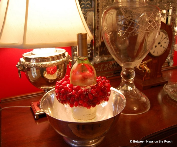 DIY Wine or Champagne Chiller With Cranberries for Christmas or New Year's Party