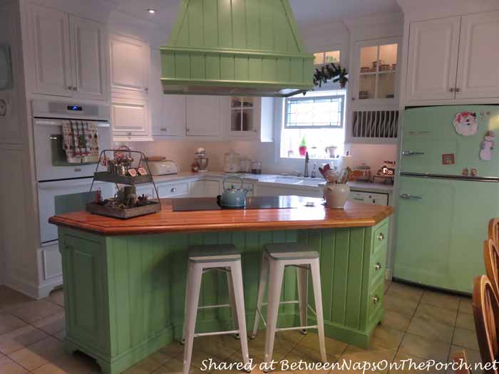 Kitchen Renovation with Big Chill Refrigerator in Jadite Green
