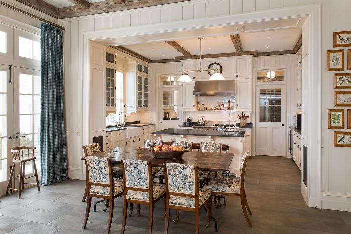 Kitchen with white paneled walls
