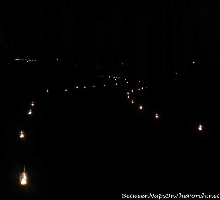 Pathway Lit With Mason Jar Lantern