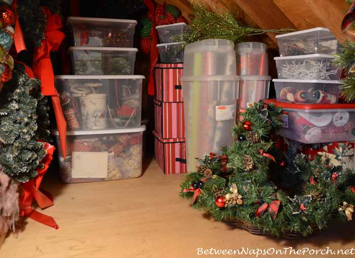 Christmas Decorations Neatly Stored Away In Clear Storage Bins