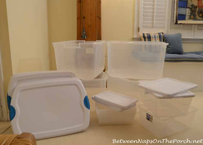 Clear Storage Bins For Storing Away Christmas Decorations