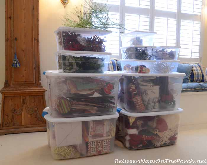 Clear Storage Bins for Christmas Decorations