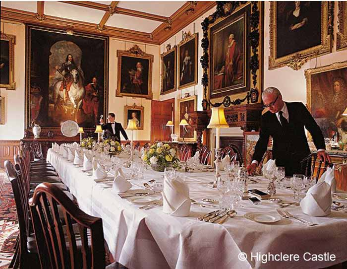 Downton Abbey Highclere Castle State Dining Room in Stuart Revival Style
