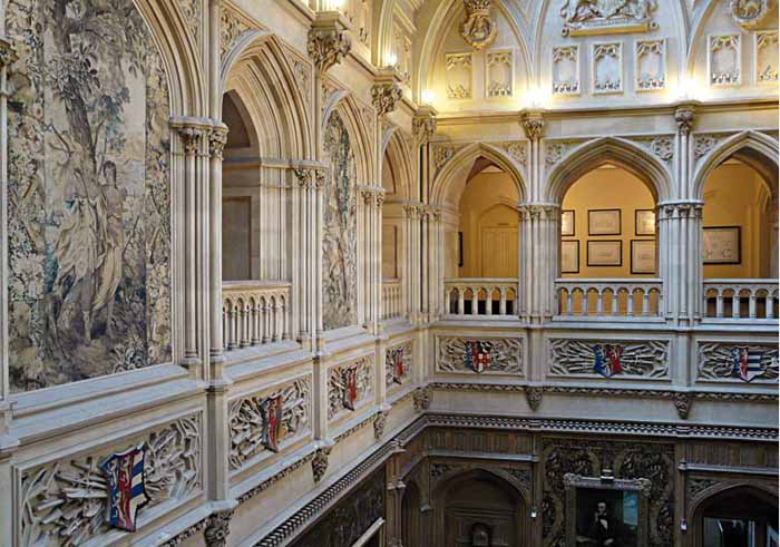 Gallery Above the Saloon, Belgian Taperstries and Carnarvon Family Crests