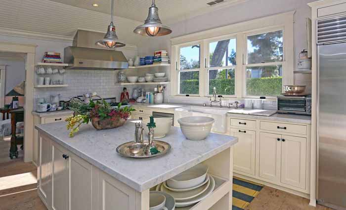 Kitchen with Marble Counters and Open Shelving, George Peppard's Home