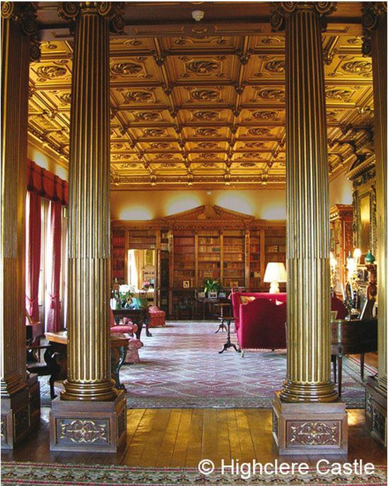 Library Highclere Castle as viewed from the North Library, designed by Thomas Allom