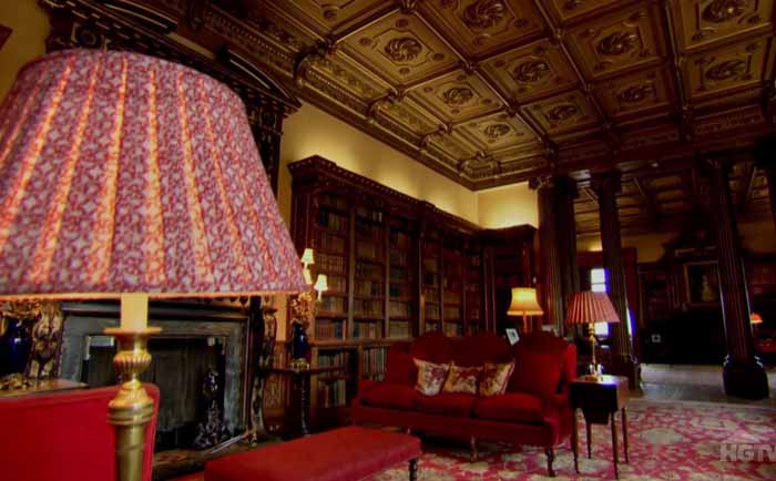 Library in Downton Abbey Highclere Castle