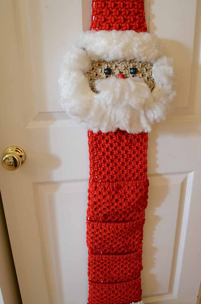 Macrame Santa Holds Christmas Cards
