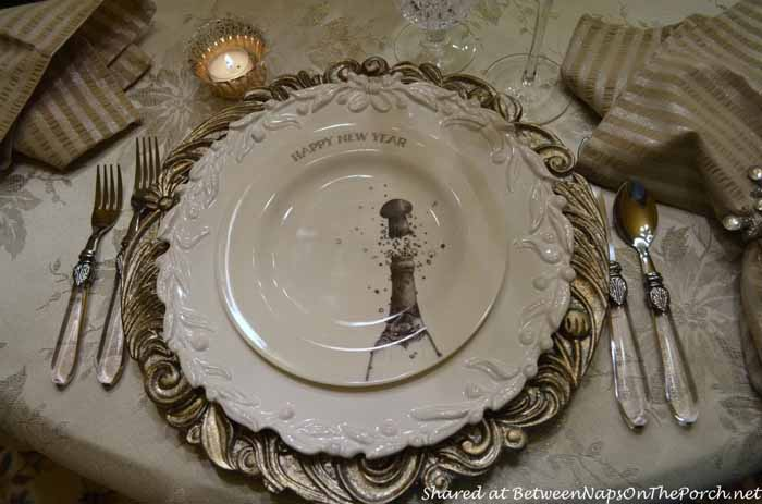 New Year's Table Setting Tablescape with Champagne Plates 03
