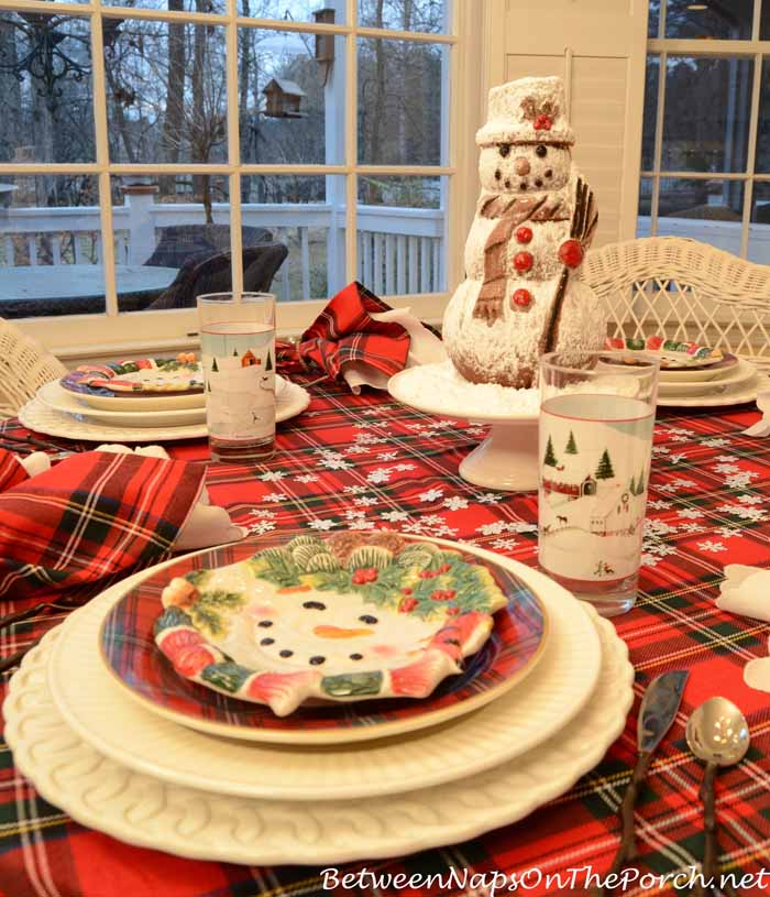 Plaid Tablecloth for a Winter Tablescape