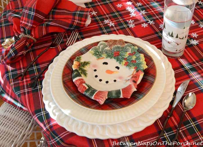 Snowman Plates for a Winter Tablescape