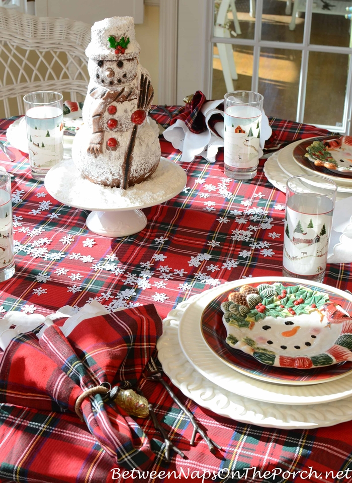 Snowman Spice Cake For Winter Table Setting in Plaid