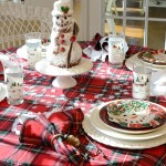 A Winter Tablescape With Snowman Spice Cake Centerpiece