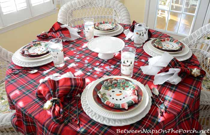 Snowman Themed Winter Table Setting