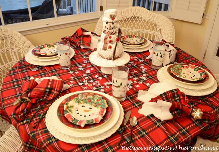 Snowman Themed Winter Tablescape