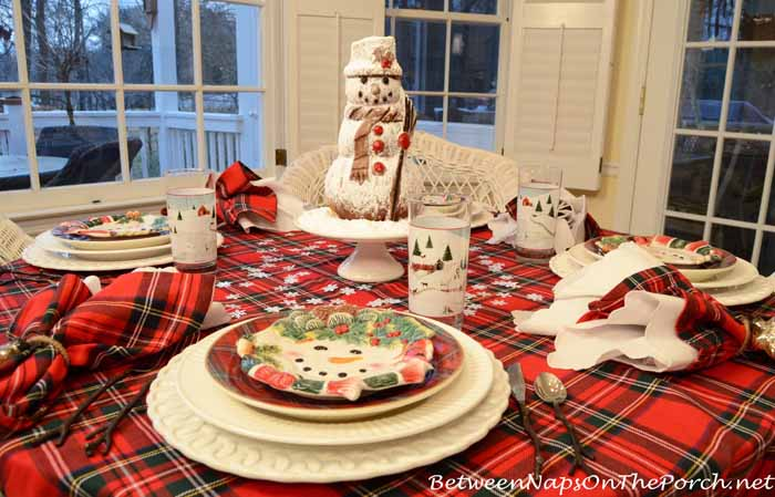 Snowman Winter Table Setting Tablescape