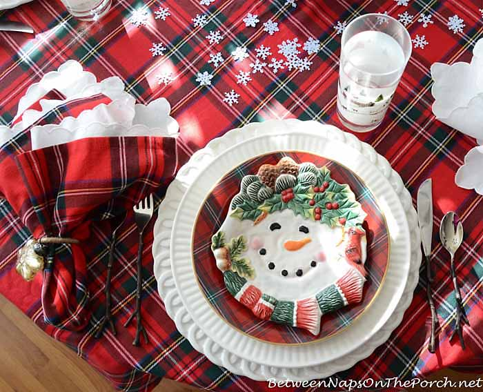 William Sonoma Plaid Salad Plates in a Winter Tablescape