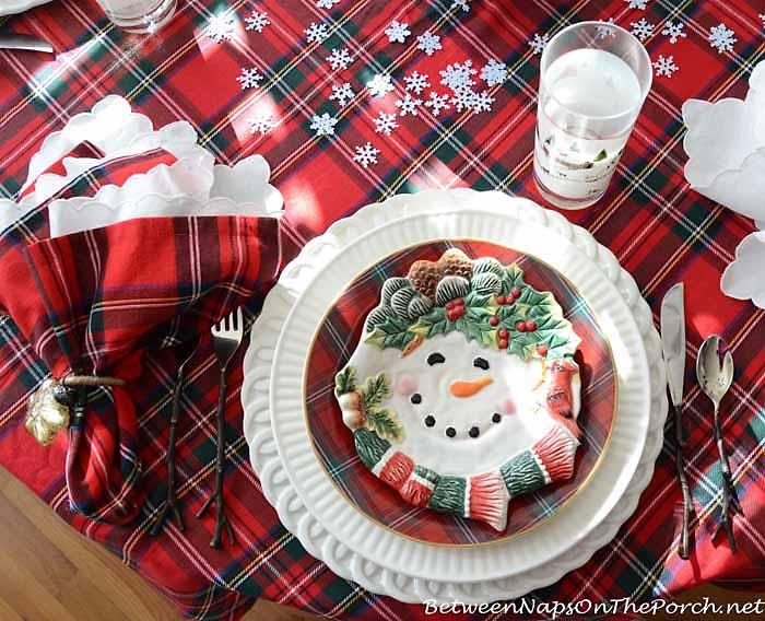 William Sonoma Plaid Salad Plates in a Winter Tablescape