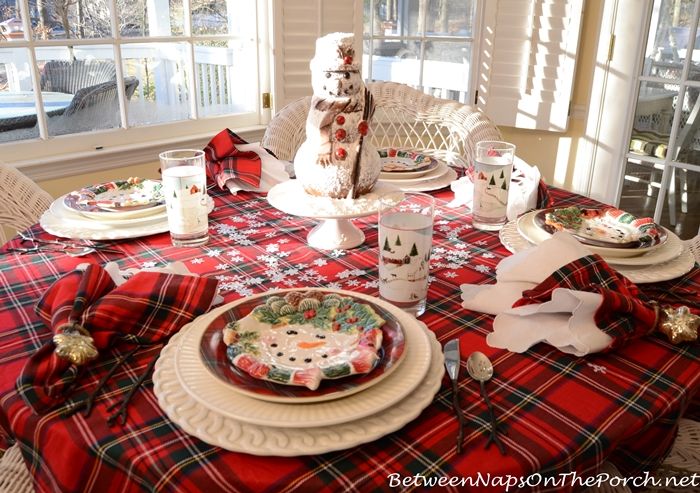 Winter Table Setting With Snowman Spice Cake Centerpiece