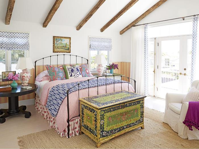 Bedroom with Iron Bed and Floral and Bird Fabrics