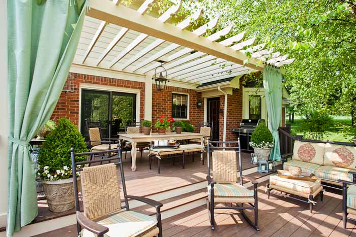Deck with pergola and outdoor curtains - Deck With Pergola And Outdoor Curtains