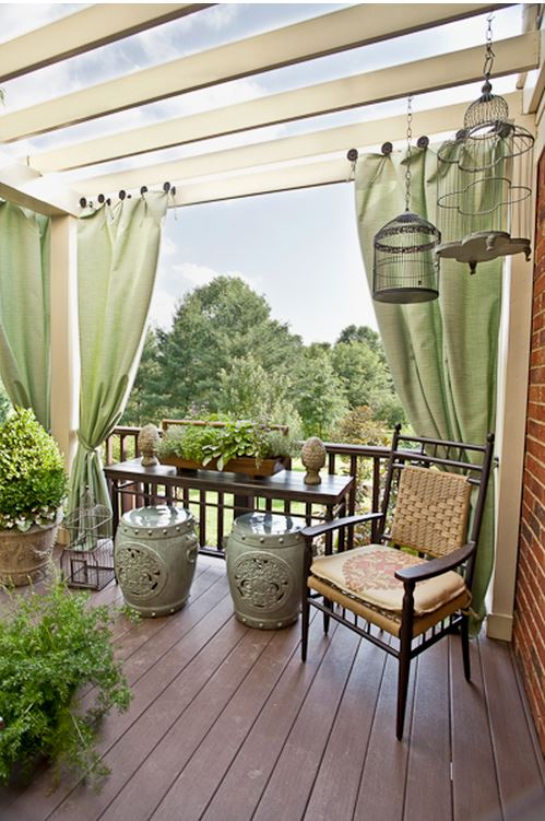 Decorate Deck with Ceramic Garden Seats and Bird Cages