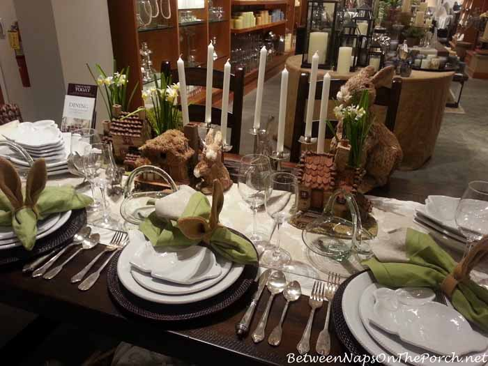 Easter Spring Table With Bunny Ear Napkin Rings
