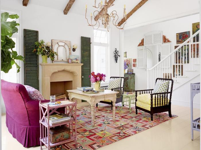 Eclectic Living Room in Cottage Home