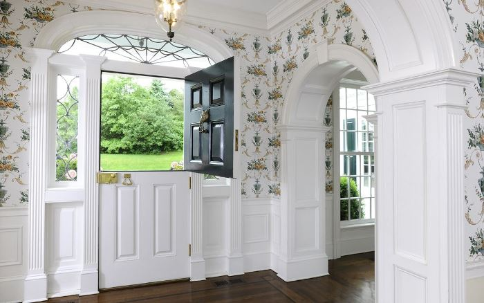 Entry with Dutch Door and Beautiful Wallpaper