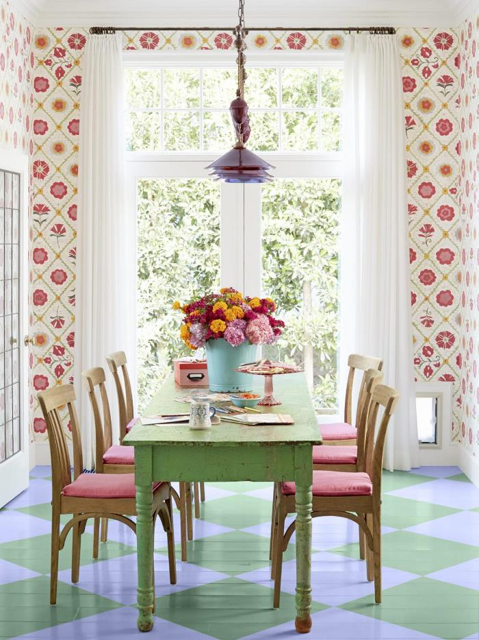 Fanciful Floral Wallpaper for the Dining Room