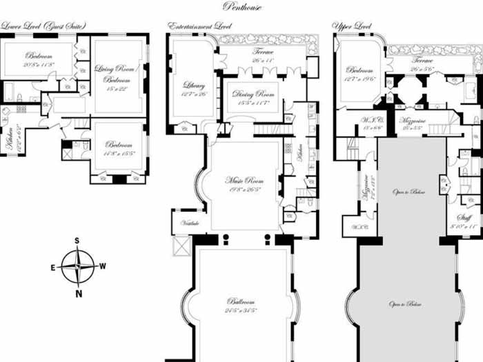 Floorplan Joan River's New York Penthouse Apartment
