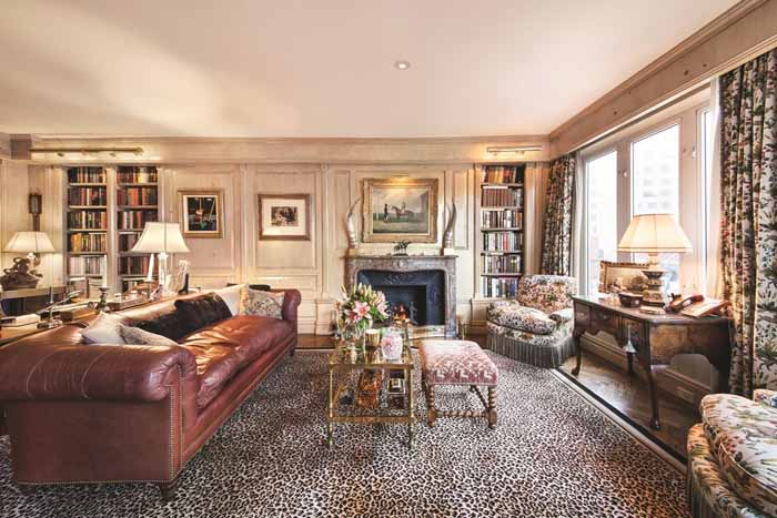 Library in Joan River's New York Apartment