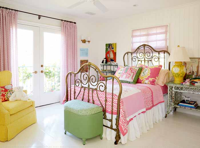 Pink, Yellow and Lim Green Bedroom, Iron Bed