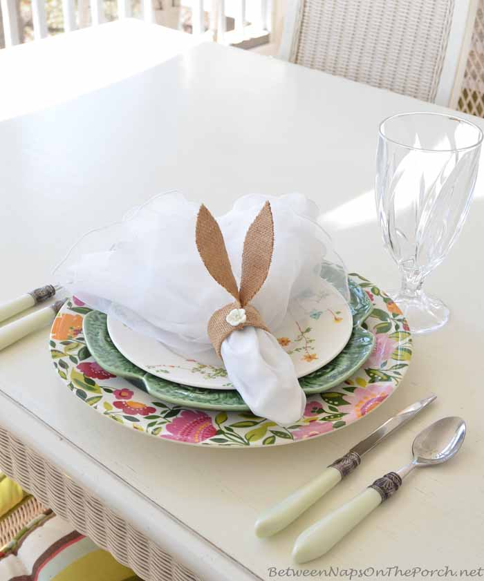 Pottery Barn Inspired Burlap Bunny Ear Napkin Rings